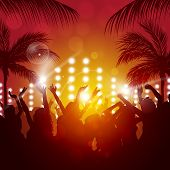 foto of rave  - beach party music background for active night events - JPG