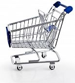 Single Shopping basket cart - isolated on white background