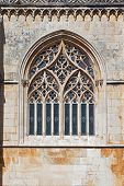 Batalha Monastery. Tracery Gothic window in Capela do Fundador (Founders Chapel). Portugal. UNESCO World Heritage Site.