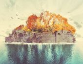 an island with trees and birds done with a retro vintage instagram filter