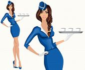 foto of flight attendant  - Young attractive long legged flight attendant stewardess standing with drinks vector illustration - JPG