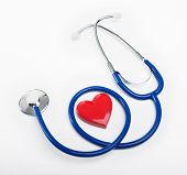picture of cardiovascular  - Blue stethoscope and heart shape cardiovascular diseases and prevention concept.
