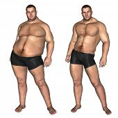 Concept or conceptual 3D fat overweight vs slim fit with muscles young man on diet isolated on white