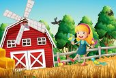 foto of bird fence  - Illustration of a smiling little girl at the farm with the birds - JPG