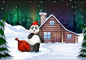 Illustration of a Santa panda with a red sack full of gifts