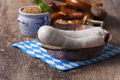 stock photo of copper  - bavarian white sausages in a copper pot - JPG