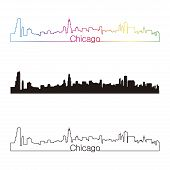 Chicago Skyline Linear Style With Rainbow
