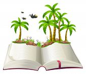 Illustration of an open book with coconut trees and birds on a white background