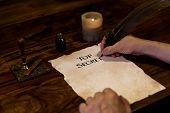Man Is Writing On Document Top Secret