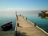 image of macedonia  - Boat with pier in paradise lake - JPG