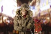 Girl In Jacket Winter With Shopping Bag