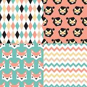 Seamless geometric circus theme lion fox and chevron background set pattern in vector