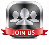 Join us now button and register here for free today. Registration icon member or membership sign