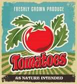 Retro tomato vintage advertising poster - Metal sign and label design. Removable texture applied. Ve