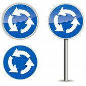 Vector Roundabout Blue Signpost