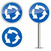 Vector Roundabout Blue Signpost
