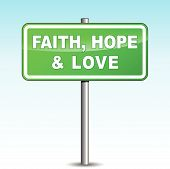 Vector Faith, Hope And Love Signpost