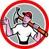 Carpenter Builder Hammer Circle Cartoon
