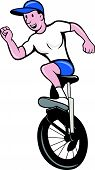 pic of unicycle  - Illustration of a cyclist riding unicycle on isolated background done in cartoon style - JPG