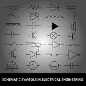 stock photo of capacitor  - schematic symbols in electrical engineering icon set - JPG