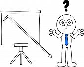 pic of going out business sale  - Hand drawn cartoon businessman beside standing sales chart with question mark and sales going down off chart - JPG