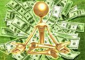 3D Financial Enlightened Guru Meditation Concept