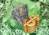 3D Forklifting Dollar Symbols Concept