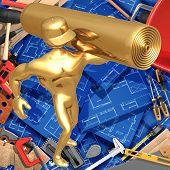 3D Home Improvement Construction Concept Carpeting
