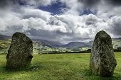 Ancient Stone Circle Looking Upon Mountains.