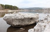 image of kan  - Beached Kan River floe near Zelenogorsk, Krasnoyarsk Territory