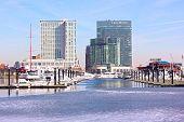 Urban winter scene of Inner Harbor in Baltimore.