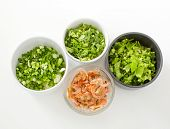 Chopped Celery, Spring Onion,  Parsley And Dried Salted Prawn Ingredientthai Style Breakfast-(rice C