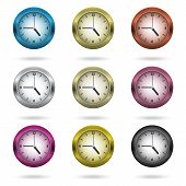 Set Of Colorful Clock Icon.
