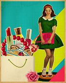 Pretty Young Woman In Fashion Retro Dress.retro Shopping Poster