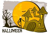haunted house and scarecrow halloween background
