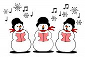three snowman singing christmas carol