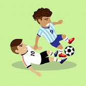 Two Soccer Players Fighting For A Ball