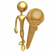 Holding Golden Microphone