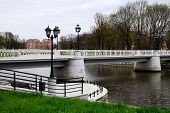 White Bridge On The Verhnee Lake (formerly Oberteich). Kaliningrad, Russia