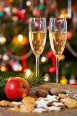 Christmas Composition With Champagne.