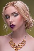 pic of half naked  - Half-length portrait of beautiful sexy blonde with violet tempting lips and perfect skin wearing precious necklace on her naked shoulders looking at us seductively isolated on dark background ** Note: Shallow depth of field - JPG