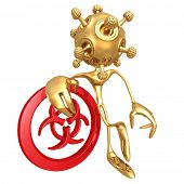 Isolated Virus Leaning On Biohazard Symbol