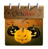 Halloween pumpkin and calendar on 31th of October