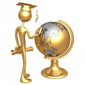 Golden Grad Looking At School Globe