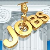 Golden Grad With Doubts On Job Market Graduation Concept