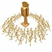 Crowd Running Towards Golden Retro Microphone