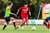 Sisaket Thailand-september 17: Siwapong Jareansin Of Sisaket Fc. In Action During Unofficial Friendl