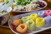 Colorful Of Thai Vermicelli, Rice Noodles Eaten With Curry.
