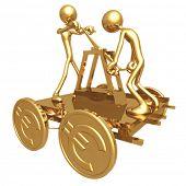 Teamwork Push Cart With Gold Euro Coin Wheels