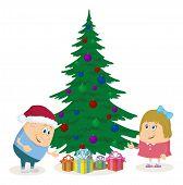 Children and Christmas fir tree